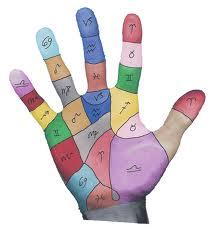 mano con segni zodiacali colorata